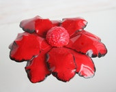 Vintage Bright Red Metal Flower Brooch Pin Poinsettia Red Enamel