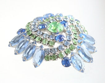 Blue Green Rhinestone Brooch Silver Vintage Light Blue Lime Green Pin Silver Swirled Domed