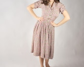 Vintage 1940s Dress - Pink and Green Printed Silk Day Dress