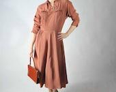 Vintage 1940s Dress // Brown Rayon Dress with Elegant Details
