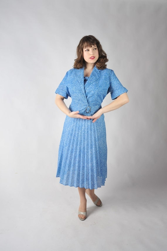 LAST CHANCE Vintage 1950s Dress - Blue Swirls Summer Dress with Jacket and Rhinestone Accent