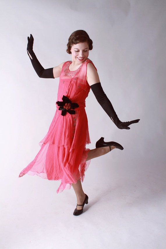 Vintage 1920s Dress Fantastic Hot Pink Chiffon Flapper By