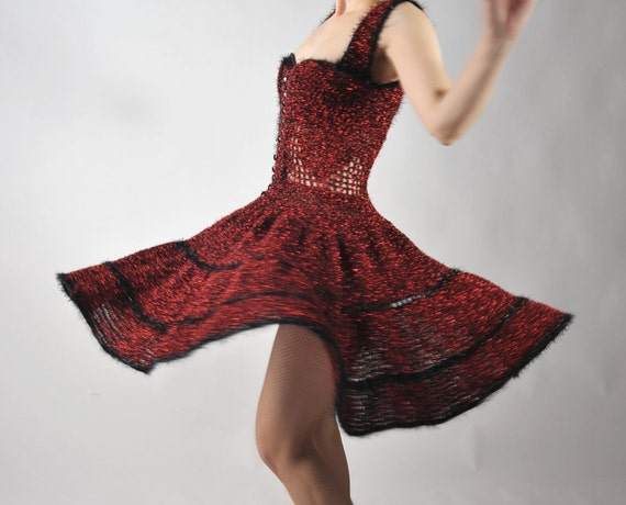 Vintage 1950s Dress - Amazing Sparkling Black and Red Crocheted Cirque Burlesque Performance Dress