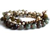 Hand Knotted Riverstone, Labradorite - Stone Necklace - Long Layering Boho Chic - Fall Fashion- Black Friday