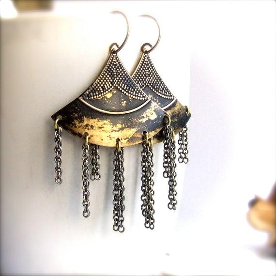 Black Gold Chandelier Earrings Brass Fan Shield Tassel Patina Bohemian Tribal Long Fringe Jewellery