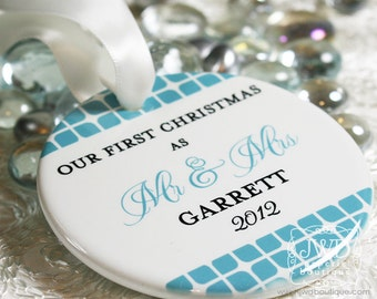 Just Married Ornament Porcelain Mr and Mrs Wedding Ornament Personalized Wedding Gift - Weston Pattern - Item# WES-MM-O