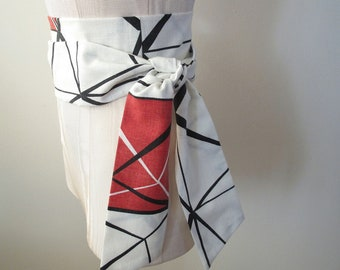 Obi Belt White Black Red Geometric Print Cotton Vintage Fabric - made to order