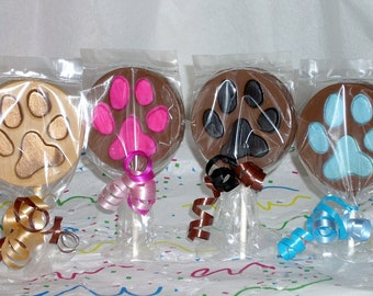 Chocolate Animal Paw Print lollipops