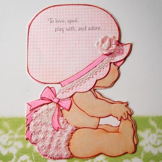Vintage new baby girl greeting card pink gingham by recycledwares