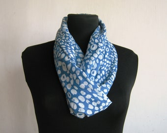 Infinity Scarf - Lightweight Handmade Pure Cotton  Circle Scarf - Light Blue