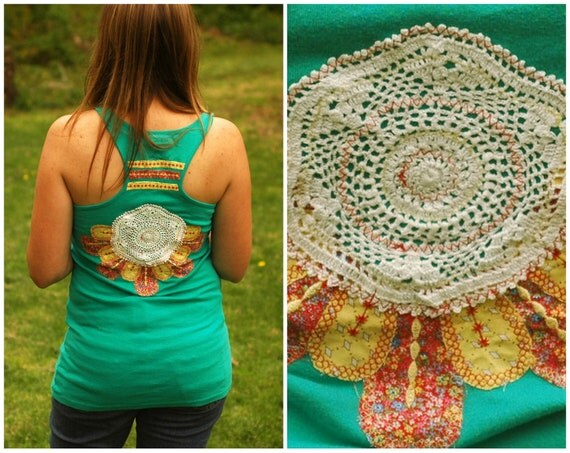 Upcycled hippie tank - spring top women clothing gypsy bohemian embroidery boho nomad applique shirt tee- medium