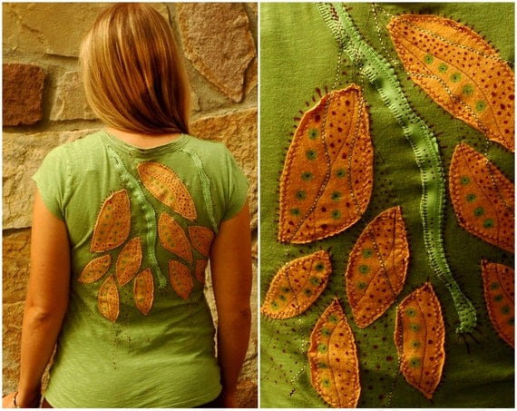 Upcycled Pixie Shirt - Recycled Tree and Hippie Clothing  - women bohemian top - fiber art -medium