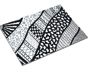 ACEO Zentangle Black & White (Zentangle -120911), Pen and Ink Illustration, Original, OOAK, One of a Kind, Doodle, Tangles, Patterns