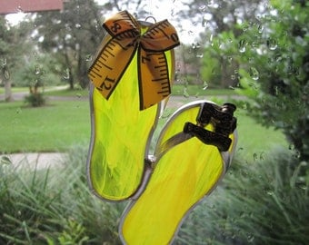 Yellow Sewing Room Flipflop Suncatcher