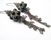 Untie Your Wings.  Cosmic Iridescent Assemblage Earrings.