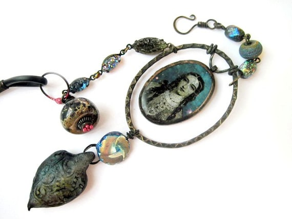 We are the Miracle. Cosmic Rustic Victorian Necklace with Galaxy Nebula.