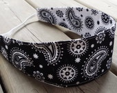 Women's Reversible Fabric Headband - Black white paisley cotton teen adult party favor gift stocking stuffer - Bandeau - Ready to ship