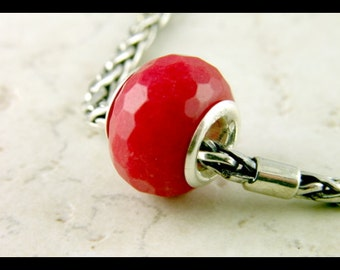 Red Faceted Marble - Sterling Silver - European Charm Bracelet Bead - large hole bead -big hole bead S301