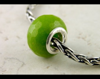 Green Faceted Marble - Sterling Silver - European Charm Bracelet Bead - large hole bead -big hole bead S306