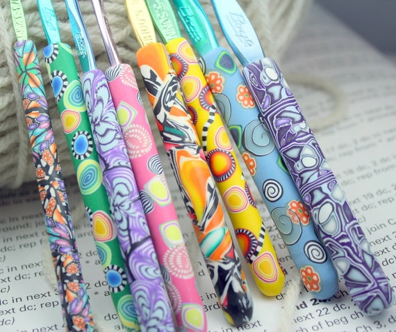 Polymer clay covered crochet hook set of 8, New Boye brand, Sizes D/3 through K/10.5, Free US shipping
