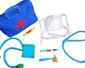 Bright soft dr's bag with all the instruments a little dr. needs.  Best Holiday Gift for any child.