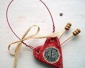 I Heart Knitting Ceramic Ornament
