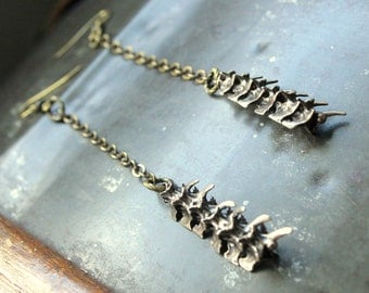 Snake Vertebrae Earrings - Primal Elegance - Moon Raven Designs - Burnished Bronze Snake Vertebrae Earrings 035