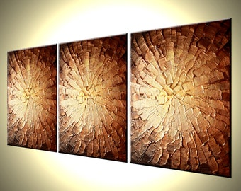 Bronze Copper Textured Painting Abstract Gold Original Palette Knife Art, By Dan Lafferty - CORE OF GOLD - 24x54 Contemporary Abstract Art