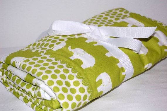 ORGANIC modern patchwork baby blanket- green elephants and dots- ready to ship