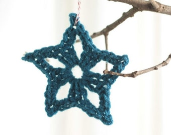 Christmas ornament, package tie ons, hand crocheted star,  peacock