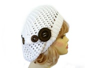 Slouch Beanie Hat White with buttons Hand knit chunky