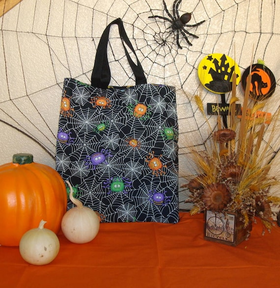 Halloween Trick or Treat Bag with a Reversible Cute Spiders and Mr. Bones Print