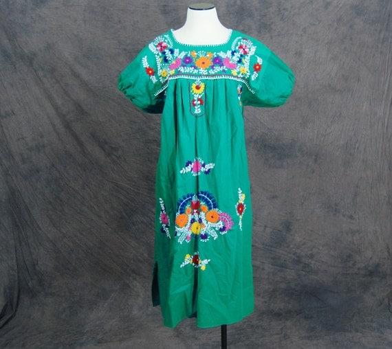 vintage Peasant Dress - Green Boho Mexican Embroidered Tent Dress Sz L XL