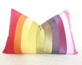 Color Block Pillows, Colorful Striped Throw Pillows, Colorblock Stripes, Rainbow, Spring, Boho Chic, Eclectic, Rectangle, Lumbar, 14x20
