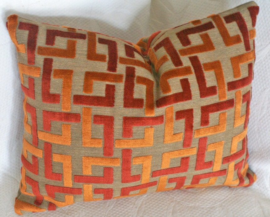 Orange Decorative Pillows Couch : Orange Throw Pillow Contemporary Geometric by PillowThrowDecor