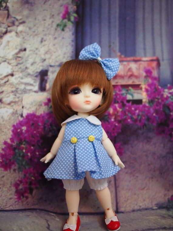 Blue Dot Dot Dress Set for Lati Yellow
