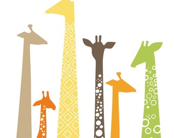 "8X10"" giraffe silhouettes giclée print on fine art paper. green, orange, tan, brown, yellow."