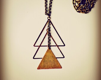 Vintage Brass Triangles, Oxidized Sterling, Santa Fe Navajo Inspired - Rex Adjustable Necklace