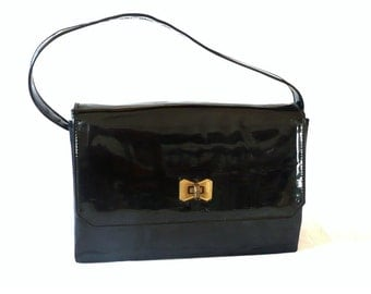 AGATHE French Vintage 60s Glossy Black Handbag