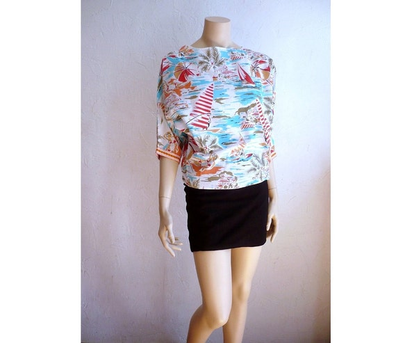 RIVIERA French Vintage 60s Cotton Print Batwing Blouse