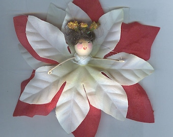 Brunette Christmas Flower Fairy with White and Red Poinsettia Petals (021)
