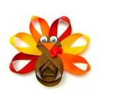 Turkey Hair Clip, Turkey Clip for Girls, Turkey Hair Bow, Turkey Ribbon Sculpture, Turkey Clippie, Toddler Girls Hair Clip Children Holiday