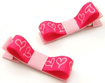 Hot Pink Hearts Hair Clips, Stylized Heart Clips, Scribbled Heart Tuxedo Bows, One Pair Heart Clips for Toddler Girls, Heart Clippies