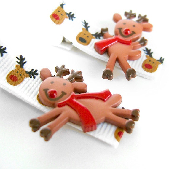 Reindeer Hair Clips, Dancing Reindeer, Leaping Reindeer, Reindeer Clippie, Reindeer Barrettes for Girls, Toddlers, Winter, Holiday
