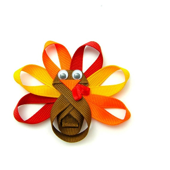 Turkey Hair Clip, Turkey Clip for Girls, Turkey Hair Bow, Turkey Ribbon Sculpture, Turkey Clippie, Toddler Girls Hair Clip Children Holiday