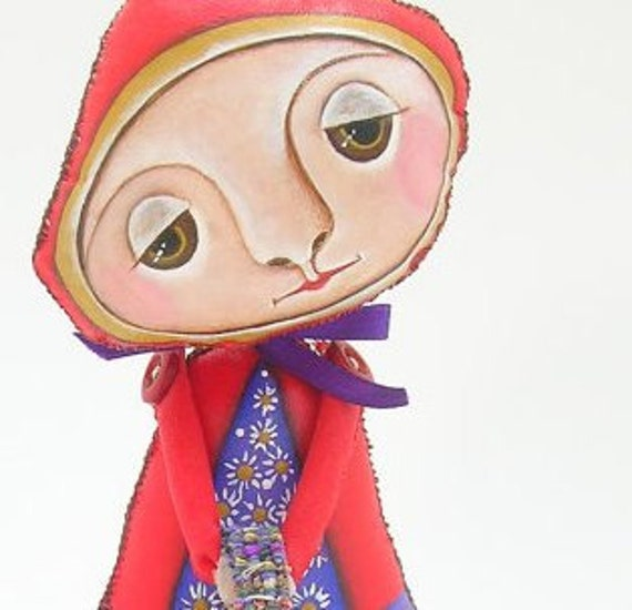 Art Doll - Red Riding Hood -OOAK Hand Painted Primitive Folk Art by WeeMeeWhimsies