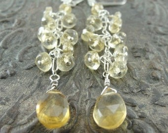 Citrine Cluster Cascade Earrings by Screaming Peacock Jewelry