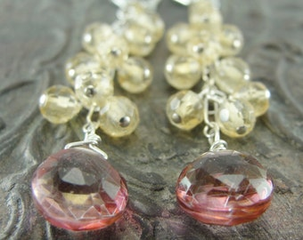 Citrine and Mystic Pink Quartz Cluster Cascade Earrings by Screaming Peacock Jewelry