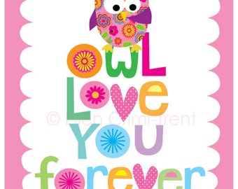 Kids Wall Art-Owl love you forever-nursery decor