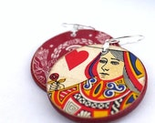 Queen of Hearts (Red Backs) - Recycled Playing Card Earrings